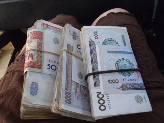 A crumbling currency means that Uzbeks commonly use carrier bags as a wallet