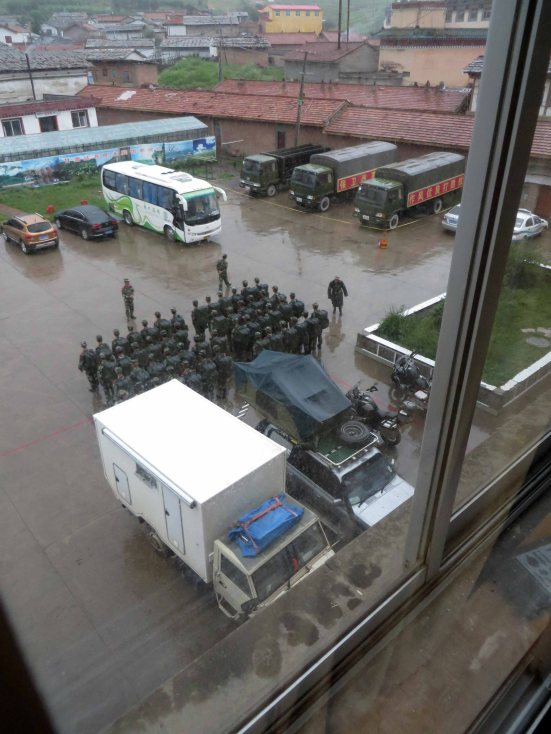 For the record, looking out of your bedroom window to find squadrons of the military Chinese quite literally feet away from you is not an experience we wish to repeat.