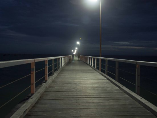 Beachport Pier by night - the longest in South Australia apparently.