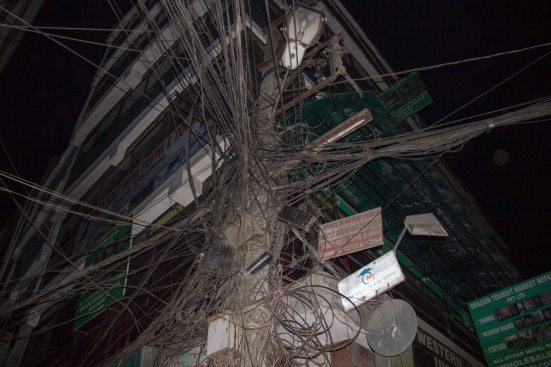 Some typical Nepali wiring, shot as we walked to the bus station.